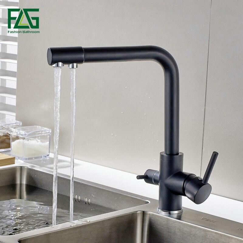 Flg filtro torneiras de cozinha deck montado torneira misturadora 360 rotação com purificação água características misturadora guindaste para pia cozinha