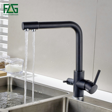 FLG Filter Kitchen Faucets Deck Mounted Mixer Tap 360 Rotation with Water Purification Features Crane For Sink