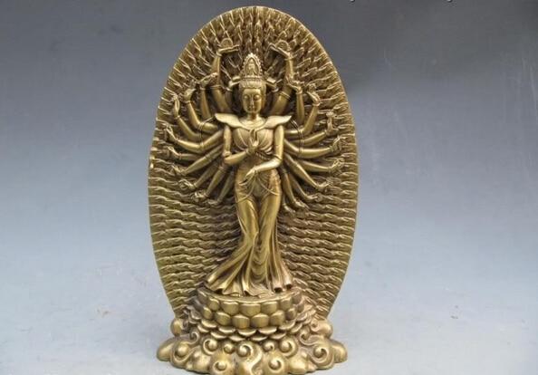 150401 S1134 Tibet refined craftwork Pure Brass 1000 Arm Hand Kwan Yin Avalokitesvara Statue discount 30% (C0324)