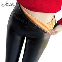 2017 New Women S Leather Pants Warm Solid Pants Black Legging High Waist Stretch Legging Fashion