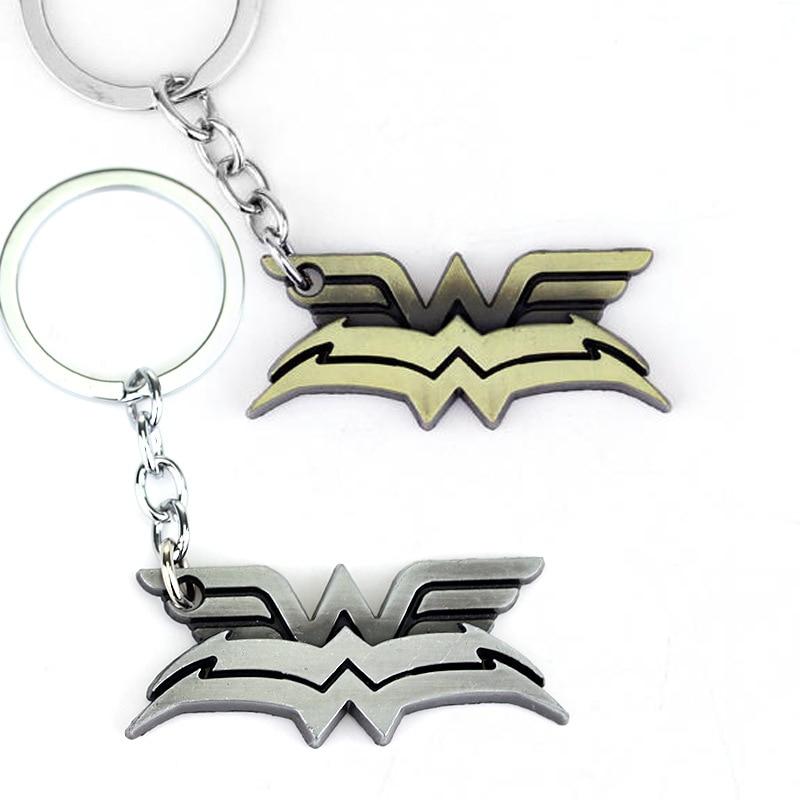 DC comics Jewelry Superhero Wonder Woman W Wings Logo Pendant Keychains Mens Movie Jewelry Car key Chain Keyrings