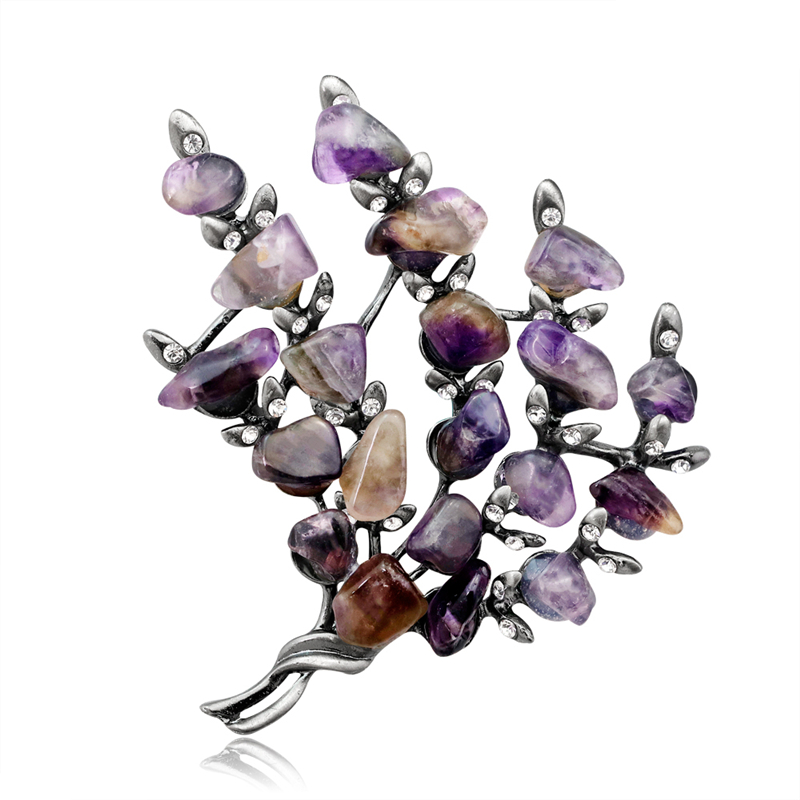 Brooches Silver Jewelry Amethyst-Stone Scarf Pin Plant Party Crystal Women Purple Bouquet