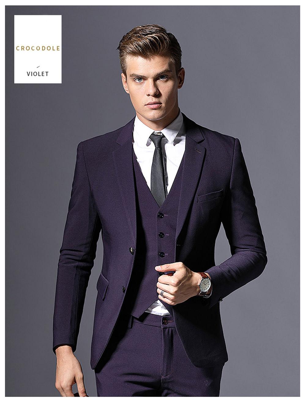 34de5d3234e2b US $75.96 |2018 Slim Fit Dark Purple Tuxedo Suits Men Wedding Dress 3 Piece  (Jacket+Pants+Vest) Business Suit Men Costume Homme-in Suits from Men's ...