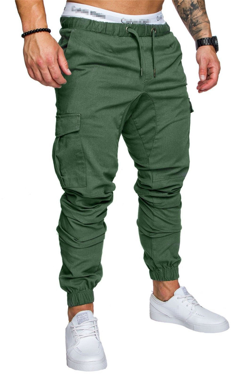 IceLion 2019 New Fashion Pants Men Solid Elasticity Men's Casual Trousers Mens Joggers Drawstring Multi-pocket Pants Sweatpants 21