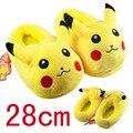 2016 de Inverno Novos Homens e Mulheres sapatos da Moda Sapatos Casuais Não-deslizamento Chinelos Pokemon Pokemon Pikachu Chinelos Macios Chinelos de Algodão
