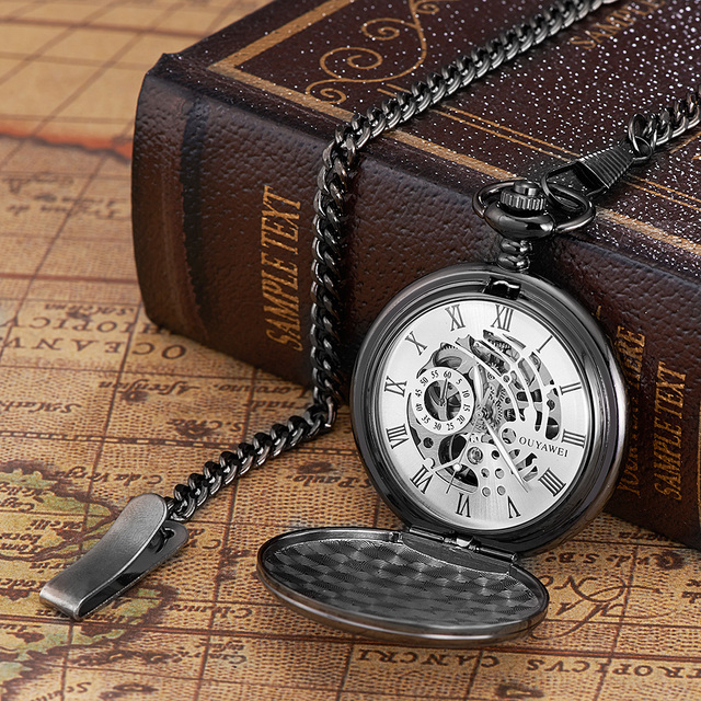 OUYAWEI Brand Mechanical Pocket Watch Men Fashion Luxury Pocket fob Watch Stainl