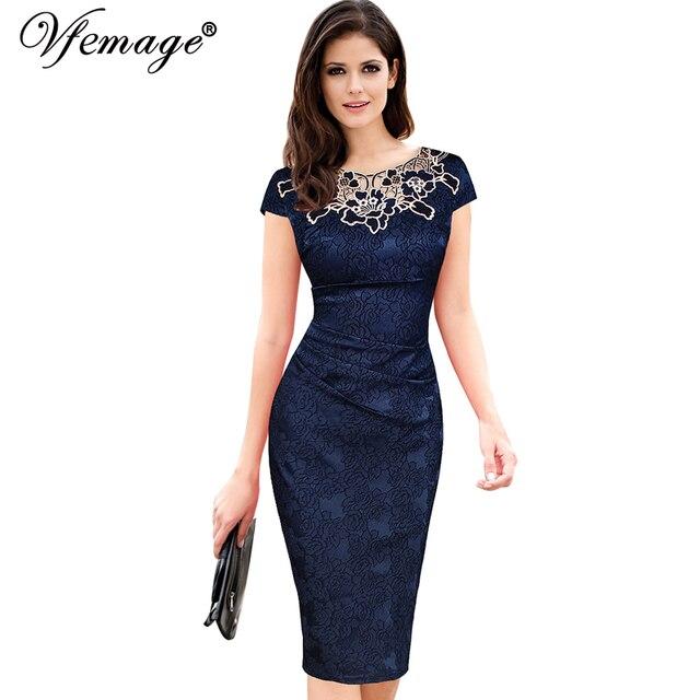 Vfemage Женщин вышивка Элегантный Винтаж Добби ткань выдалбливают вышитые Ruched Карандаш Bodycon Вечер Dress 3543