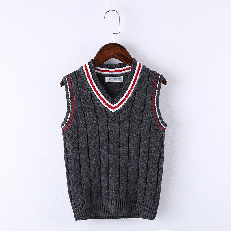 Hot Sale Autumn Winter V-neck Baby Boys/Girls Neutral Knitted Vest Cardigan School Uniform Style Sweater Childrens clothing