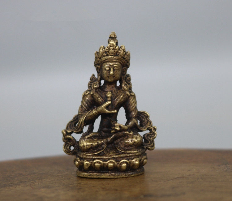 ( Mini ) Exquisite Chinese Brass Carved Longevity Buddha Small Statue No.2