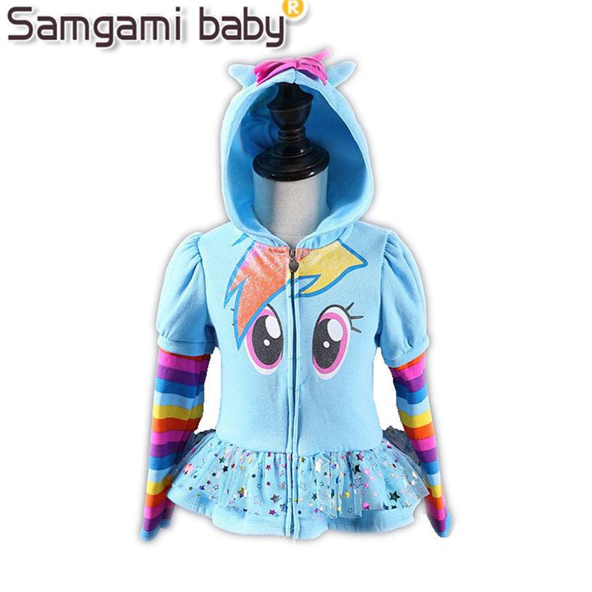 SAMGAMI BABY New 2017 Girls Little Pony Kids Jacket Children's My Coat Cute Girls Coat &Hoodies & Girls Jacket Children Clothing