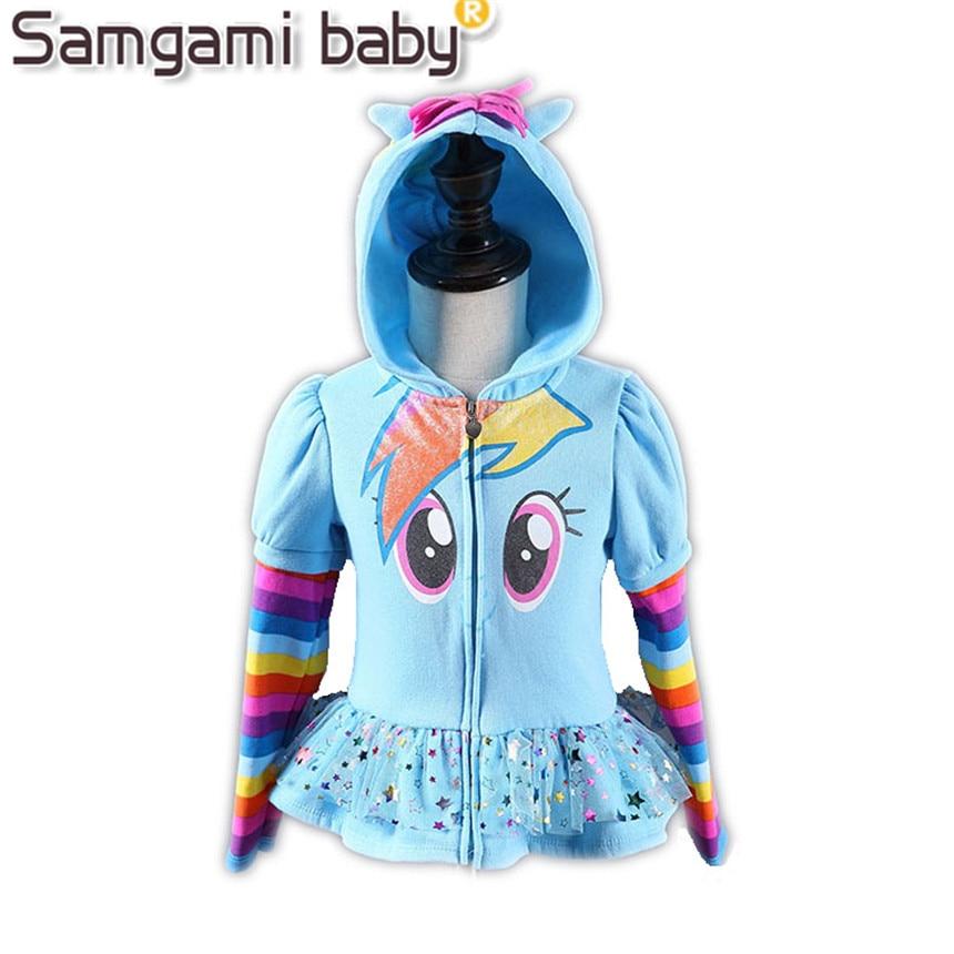 SAMGAMI BABY New 2017 Girls Little Pony Kids Jacket Children's My Coat Cute Girls Coat &Hoodies & Girls Jacket Children Clothing