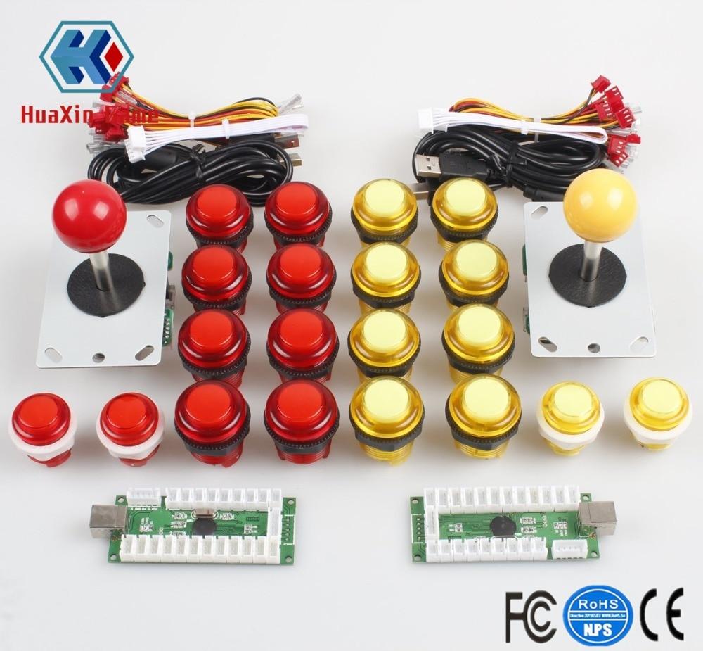 Classic Arcade DIY Kit USB LED Encoder To PC Controls 4/8 Ways Joystick + 5V Illuminated Push Button For Mame Jamma Raspberry pi
