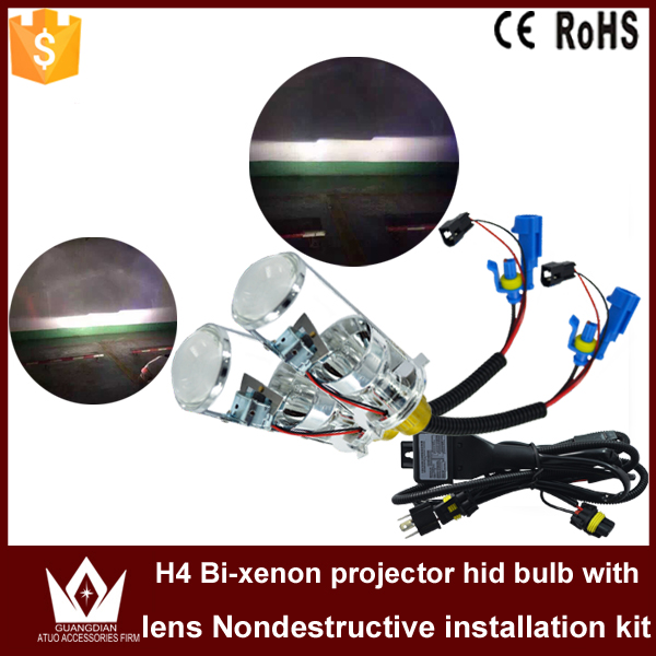 ФОТО Cheetah Car led light H4 BI-XENON HID Xenon Replacement HIGH / LOW Beam with Projector Len Headlight Relay Harness 6000k white