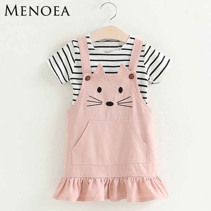 Menoea Girls Clothing Sets 2017 New Children Lovely Kitten Clothing Sets Kids Clothes Pullover Stripe T-Shirt Cute Style For 3-7 retail 2016 new girls clothing sets baby kids clothes children clothing full sleeve t shirt leopard legging birthday gift sets