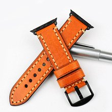 MAIKES gunuine cow leather watch strap for Apple 42mm 38mm