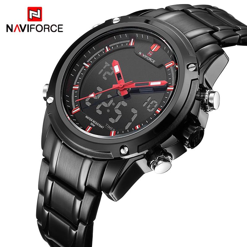 NAVIFORCE Marque De Luxe Hommes Sport Militaire Montres hommes Quartz Analogique Horloge LED Mâle Étanche Montre relogio masculino