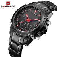 NAVIFORCE-relojes militares deportivos para hombre, de cuarzo, analógico, LED, resistente al agua, masculino
