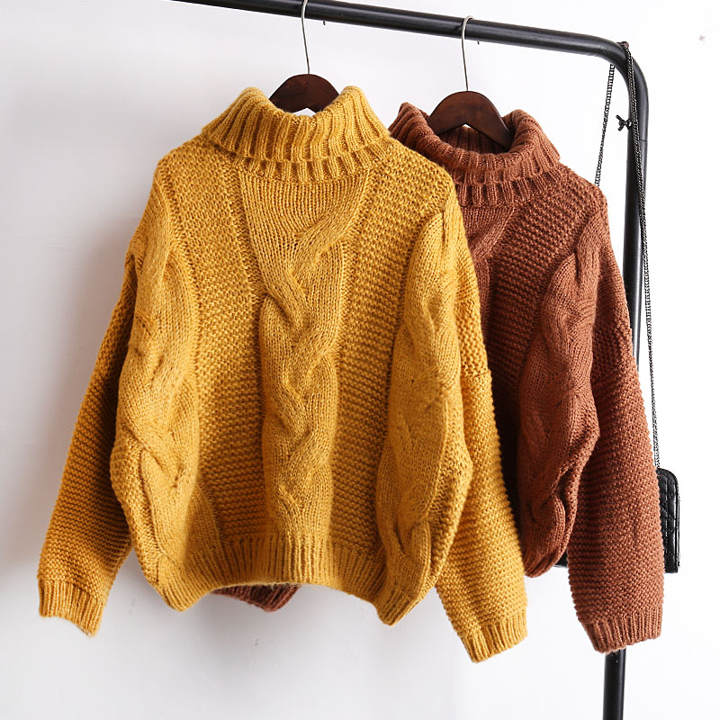 Winter Sweater Women Female Pullover 2017 New Hot Fashion Casual Loose Thick Warm Turtleneck Twist Basic Short Sweaters