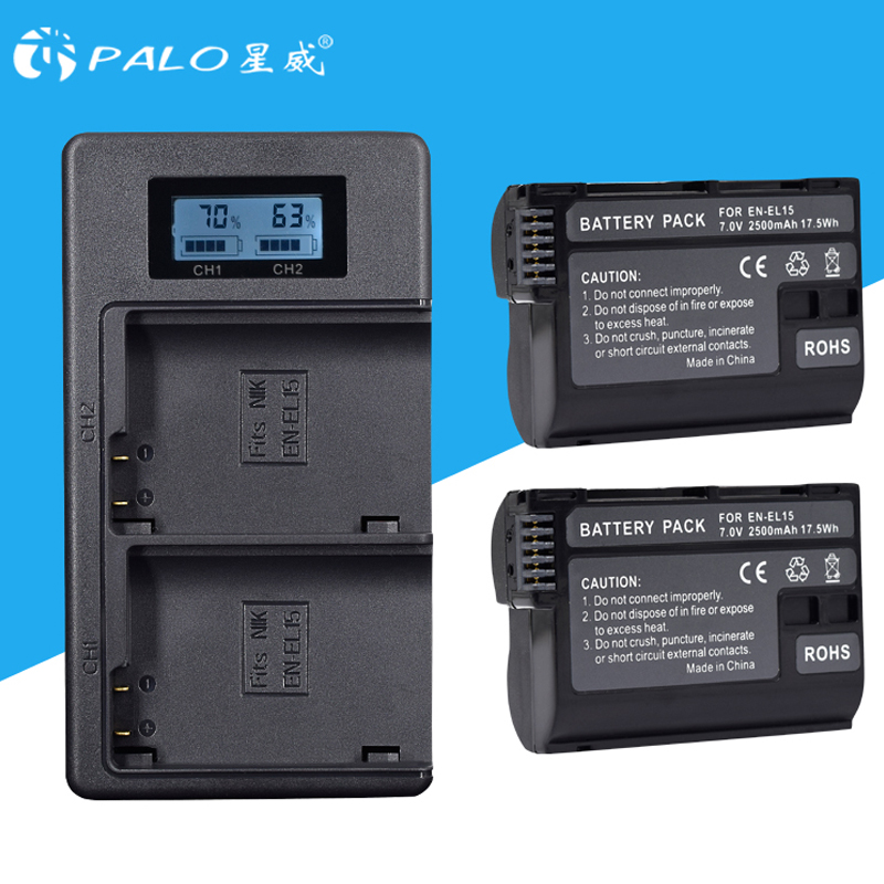2Pcs EN-EL15 EN EL15 ENEL15 EL15A Batteries + LCD Dual USB Charger for Nikon D600 D610 D600E D800 D800E D810 D7000 D7100 d750 V1 аккумулятор digicare pln el15 en el15 для d600 d800 d800e d7000 d7100 nikon 1 v1