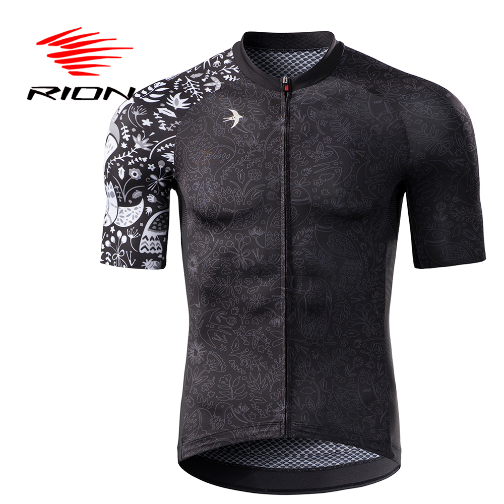 RION Cycling Jersey Motocross Short Sleeves Tops Bicycle Retro MTB Downhill Shirt Men