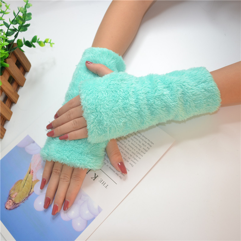 Female Cute Candy Color Plush Fingerless Cycling Gloves Winter Warm Women Half Finger Thick Velvet Student Typing Gloves B81
