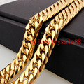 13mm Wide Top Gold Plated Double Curb Cuban Link Chain Mens Womens Stainless Steel Bracelet Or Necklace Gift 7-40inch