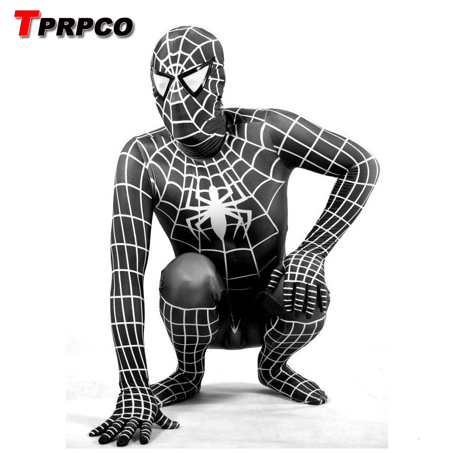 TPRPCO Lycra Spandex Black Spiderman Costume Kids Adult Child Venom Spider-Man Cosplay Zentai Suit Halloween Jumpsuit C60147