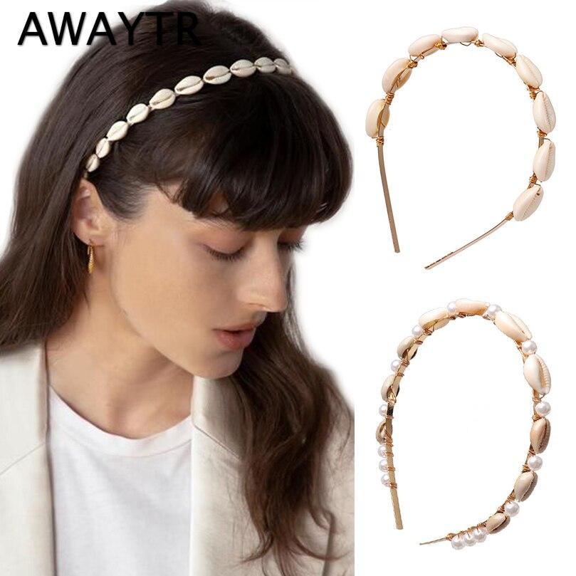 AWAYTR Candy Color Beach Shell Pearl Headband Small Stone Hair Hoop Korea Fashion Ins Sweet Hairband Girls Hair Accessories