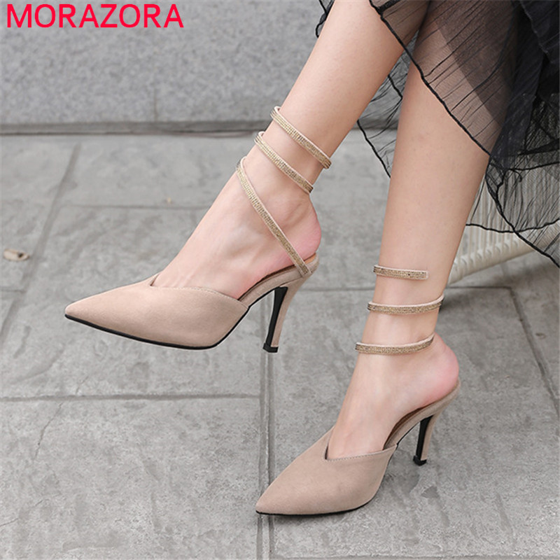 MORAZORA 2019 hot sale women gladiator sandals suede leather summer shoes sexy stiletto high heels shoes woman party shoes lady MORAZORA 2019 hot sale women gladiator sandals suede leather summer shoes sexy stiletto high heels shoes woman party shoes lady