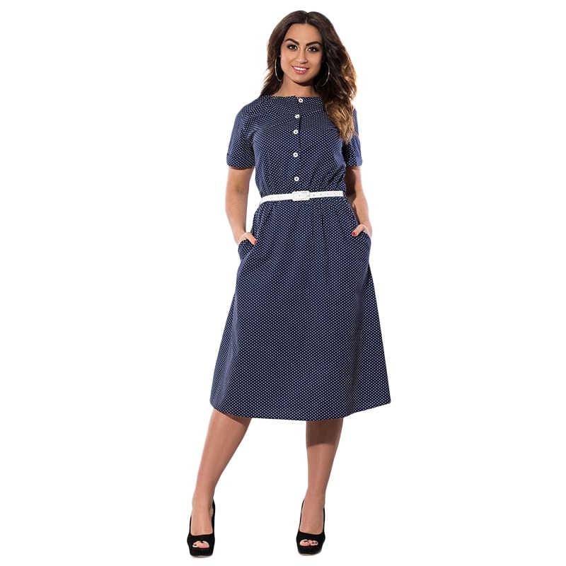 f09f7455a4d 6XL плюс размеры для женщин платья для большой летний Винтаж в горошек  Повседневное платье большой женский