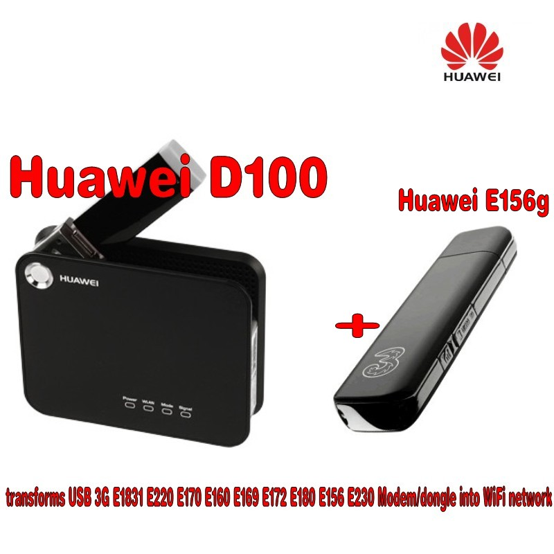 BLACK UNLOCKED Huawei D100 Mobile Broadband WiFi Router+Huawei E156g 3G wireless network card,support for HSDPA 7.2M