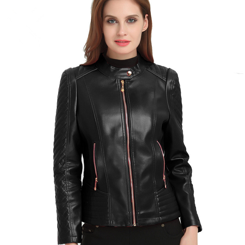 Women's   Leather   Jacket XL-6XL 2019 Spring New Casual Stand Collar Faux   Leather   Jacket Moto & Biker   Leather   Coat High Quality