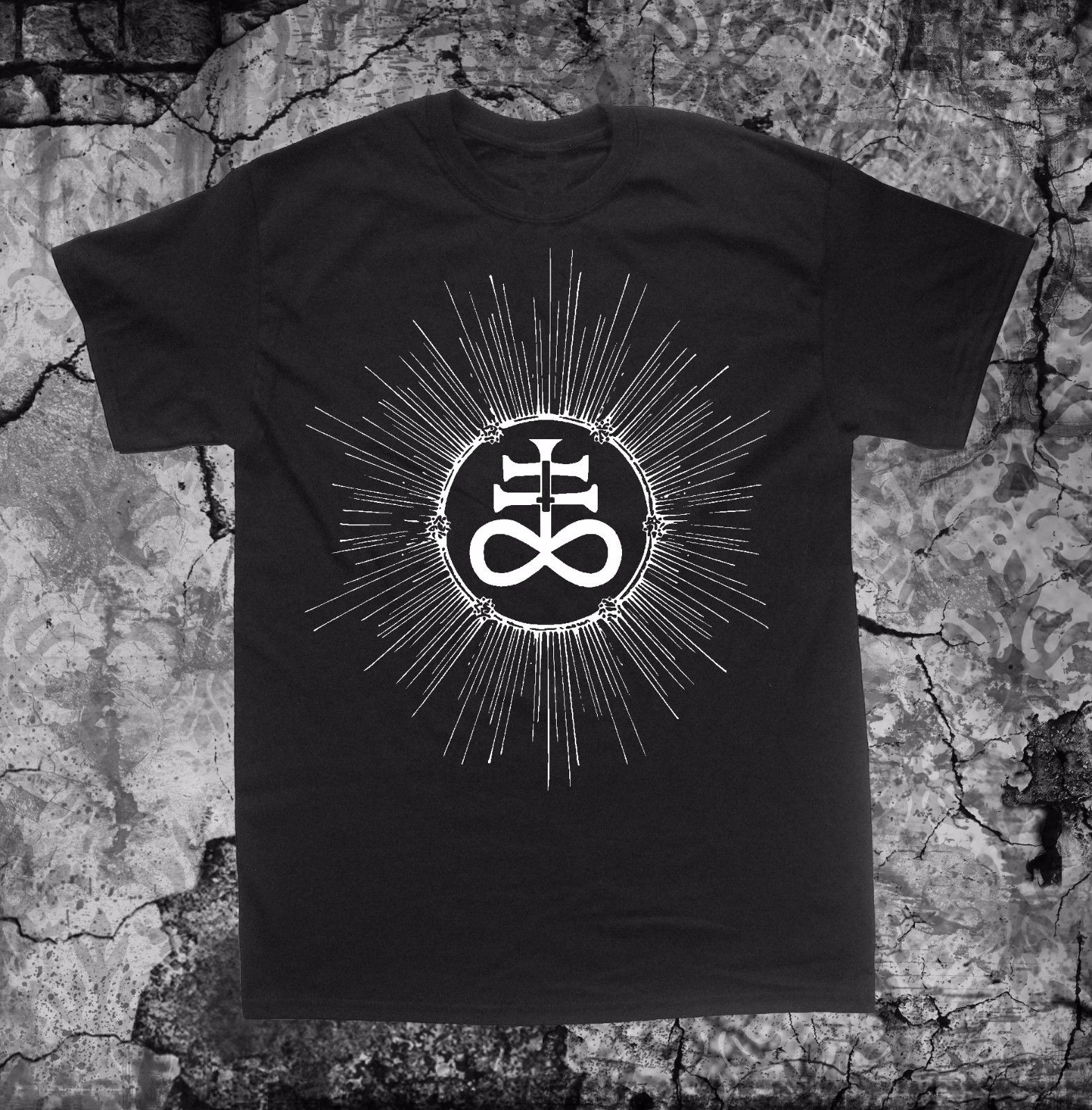 Leviathan Cross T Shirt Punk Occult Gothic Baphomet Satanic Goat Skull Pentagram T Shirt Fashiont Shirt Free Shipping Top Tee in T Shirts from Men 39 s Clothing