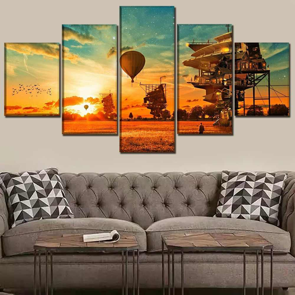 One Set 5 Piece Steampunk House And Landscape Poster Modern Artwork Wall Home Decor Poster High Quality Canvas Print Painting