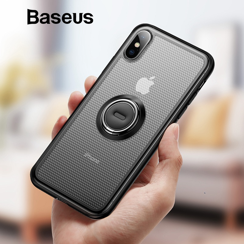 Baseus caja creativa del teléfono para el iPhone Xs con soporte anillo soporte caso mate para el iPhone Xs Max Xs XR 2018 para el sostenedor magnético del coche