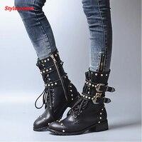 Stylesowner Британский Женские ботинки Мартин пряжки ремня Заклёпки круглый носок плоские рыцарские сапоги motocyle Натуральная Кожа Холодный Сапо
