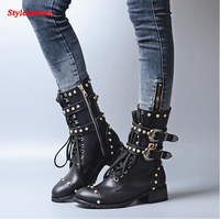 Stylesowner British Women Martin Boots Belt Buckle Rivets Round Toe Flat Knight Boots Motocyle Real Leather Cool Boots Female