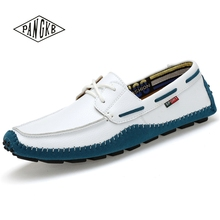 PANGKB Italian Genuine Leather Man Loafers Designer Slip On Driving Shoes Men High Quality Luxury Brand Soft Flats Large Size