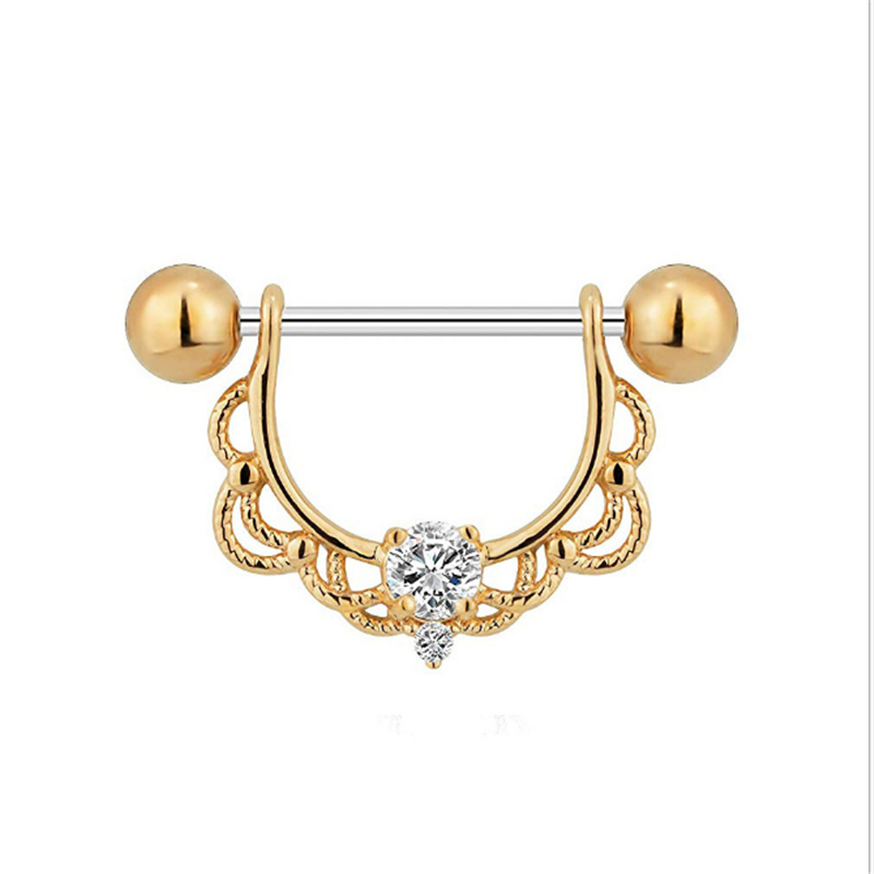2PCS New Fashion Dangle Nipple Rings Vintage Stainless Steel Women Gold Crystal Bar Barbell Piercing Nipple Rings Body Jewelry