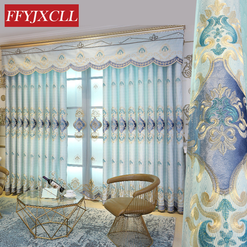 Blue coffee purple jacquard embroidered home decor - Blue and purple bedroom curtains ...