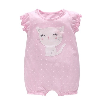 ¡Novedad de 2018! peleles cortos de verano para niñas de Vlinder, pijamas para recién nacidos de manga corta infantil, Bonito traje de lunares con diseño de gato
