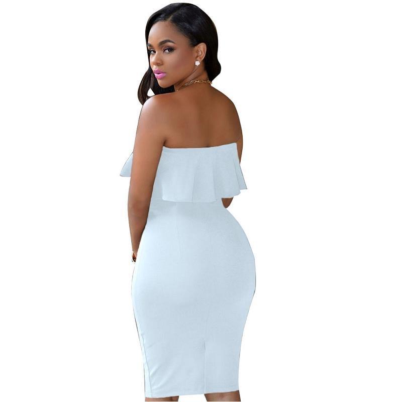 ADEWEL 2018 Women Off Shoulder Ruffles Two Piece Dress Sexy Bodycon Club Crop Top & Midi Dress Sets Party Dress Suit Vestidos (4)
