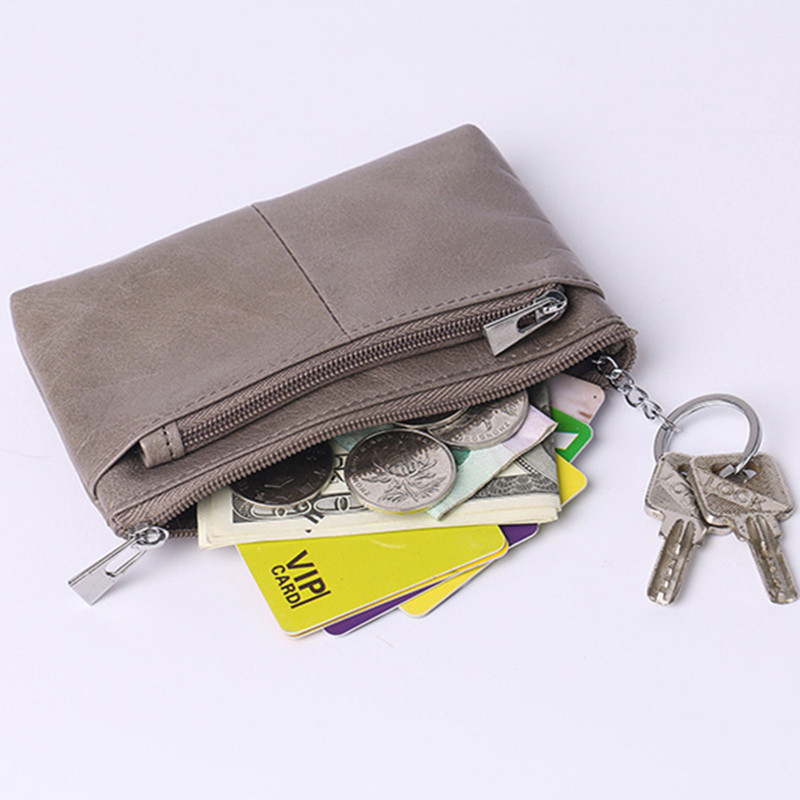 Genuine Leather Coin Purse with Keychain Metal Zipper Designer Credit Card Holder Small Wallet Women 2017 New Fashion Arrivals