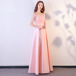 Image 2 - XBQS1107#Lace up Peach pink styles of long medium and short Bridesmaid Dresses wedding party prom dress 2019 wholesale clothing