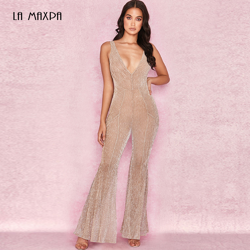 Gold Jumpsuit Sequined Party Elegant Summer Flared-Pants Sexy One-Piece Sleeveless Deep-V-Neck