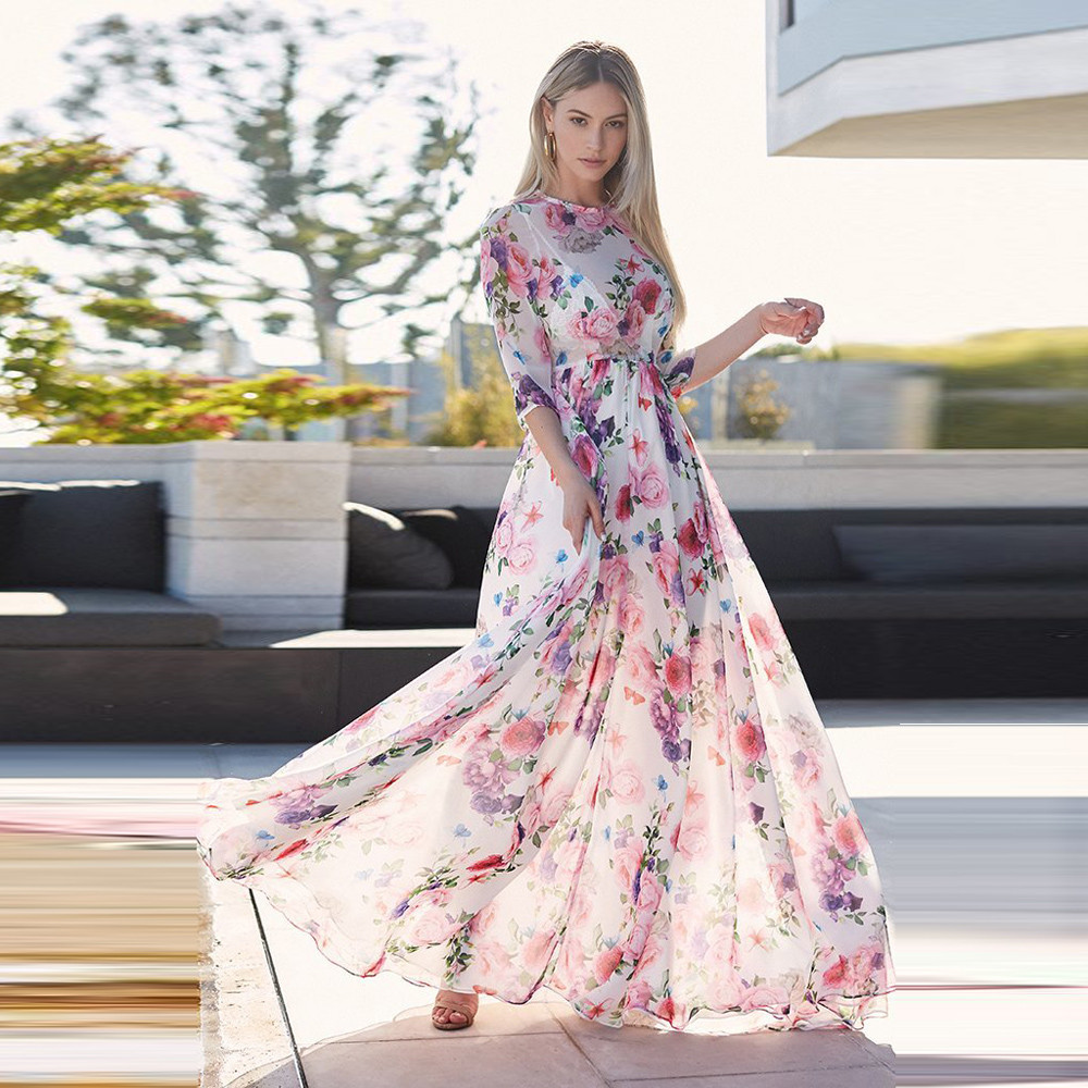 Hot Maxi Dresses For Womens Beauty Floral Printing Three