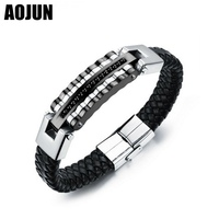 AOJUN Black Charm Handmade Weave Leather Bracelet Men S Fashion Stainless Steel Bracelet Bangles Male Men