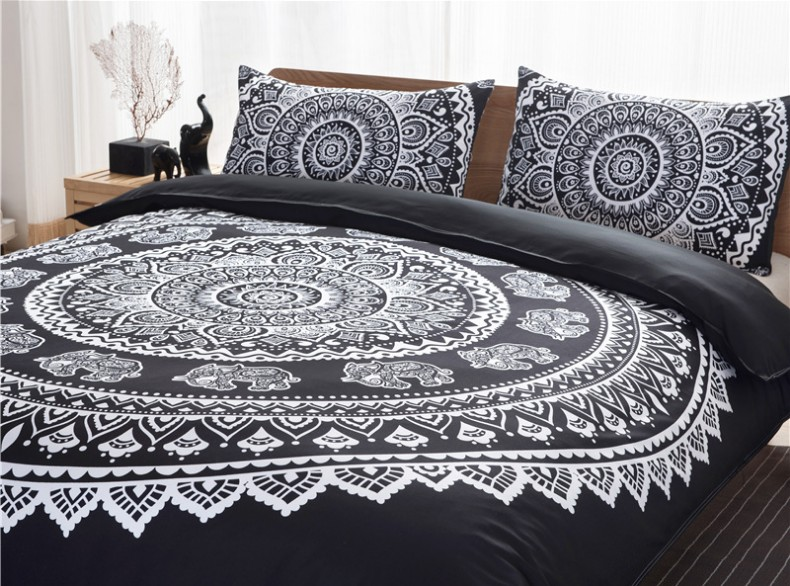 Boho Bedding sets Mandala Bohemian duvet cover qulit covers Black and White King Queen size Full double bed in a bag totem 3PCS