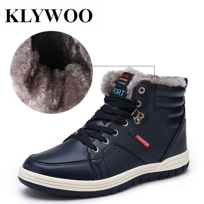 KLYWOO Big Size 39- 48 Plush Winter Men Boots Men Leather Shoes High Top Winter Fashion Men Shoes Casual Warm Ankle Boots Men do less get more