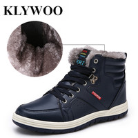 KLYWOO Big Size 39 47 Plush Winter Men Boots Men Leather Shoes High Top Winter Fashion